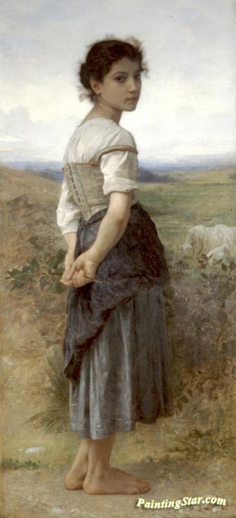 The Young Shepherdess Artwork by William Adolphe Bouguereau
