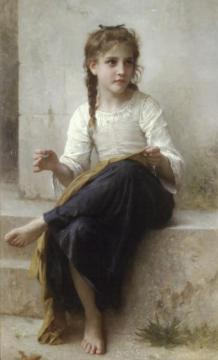 Sewing (1898) Artwork by William Adolphe Bouguereau