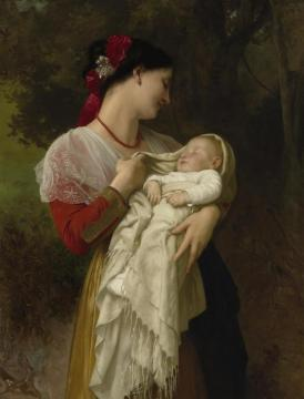 Maternal Admiration (1869) Artwork by William Adolphe Bouguereau