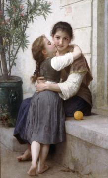 A Little Coaxing Artwork by William Adolphe Bouguereau