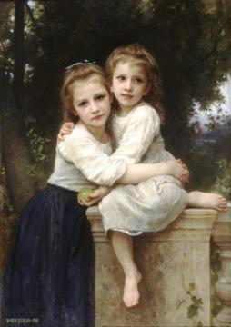 Two Sisters Artwork by William Adolphe Bouguereau