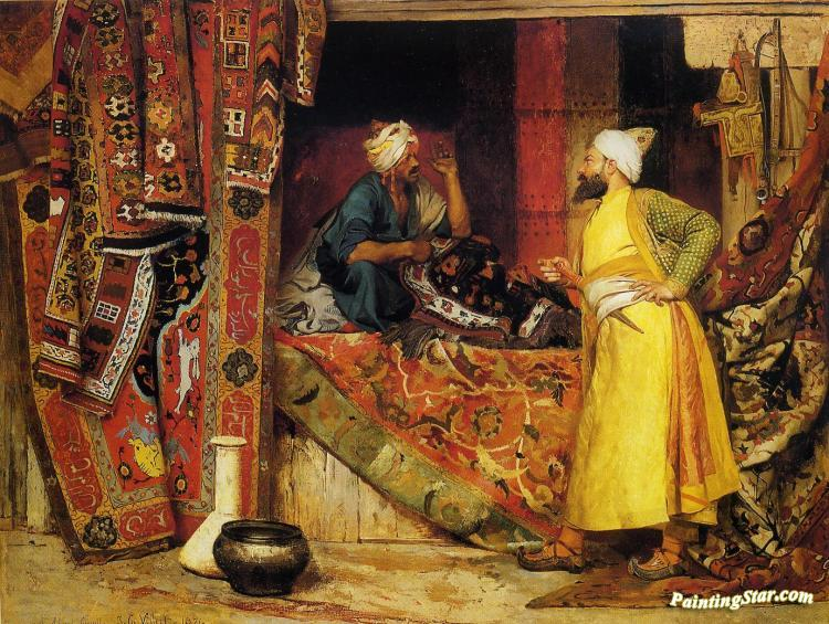 Carpet Seller Artwork By Jehan Georges Vibert Oil Painting
