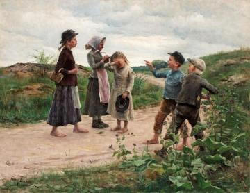 Teasing Children(1885) Artwork by Fanny Brate