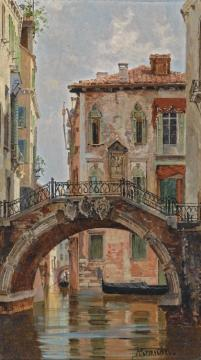 A Bridge Over A Venetian Canal Artwork by Antonietta Brandeis