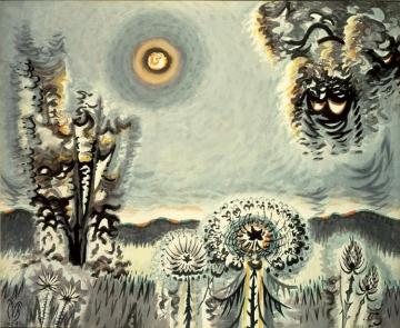 Sultry Moon Artwork by Charles Burchfield