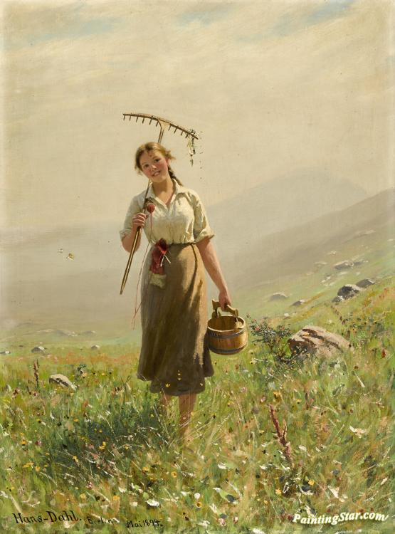 A Young Woman In The Meadow Artwork By Hans Dahl Oil