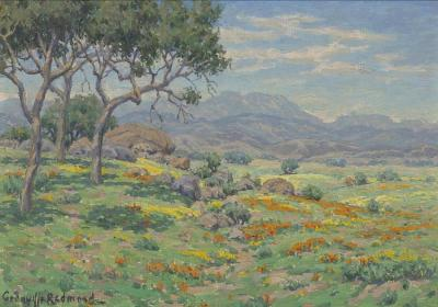 California Wildflowers In An Extensive Landscape Artwork by Granville Redmond