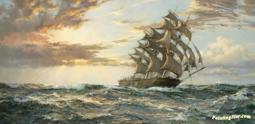 The Clipper Ship Cutty Sark Artwork By Montague Dawson Oil