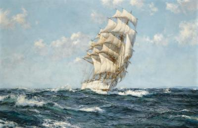 Fair Wind, Dumbarton Rock Artwork by Montague Dawson
