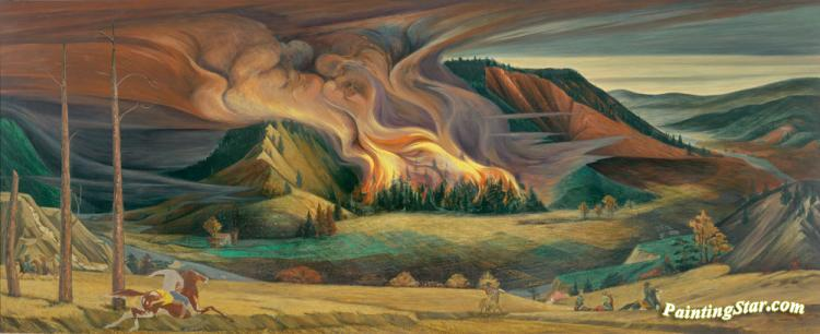Forest Fire 1944 Artwork By Frank Mechau Oil Painting