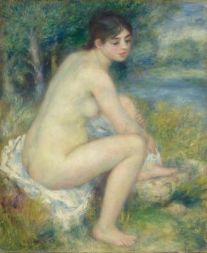 Nude Woman In A Landscape Artwork by Pierre Auguste Renoir