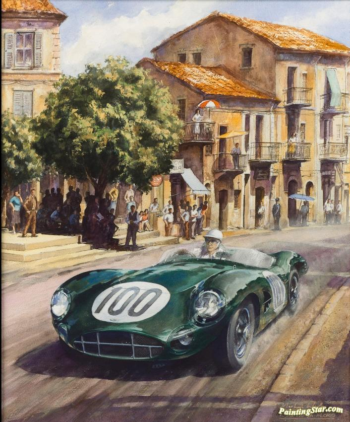 1958 Targa Florio 1 Artwork By Michael Wright Oil Painting