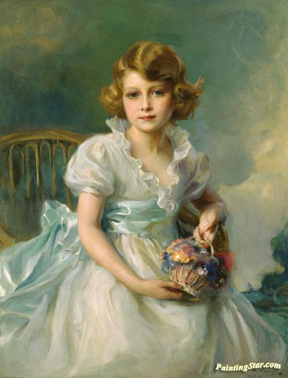 The Queen,when Princess Elizabeth Of York(1933), Art Painting by Philip  Alexius de Laszlo