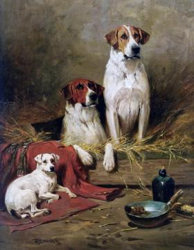 Foxhounds And A Terrier Artwork by John Emms