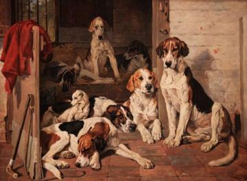 Foxhounds And Terrier In A Stable Interior (1878) Artwork by John Emms