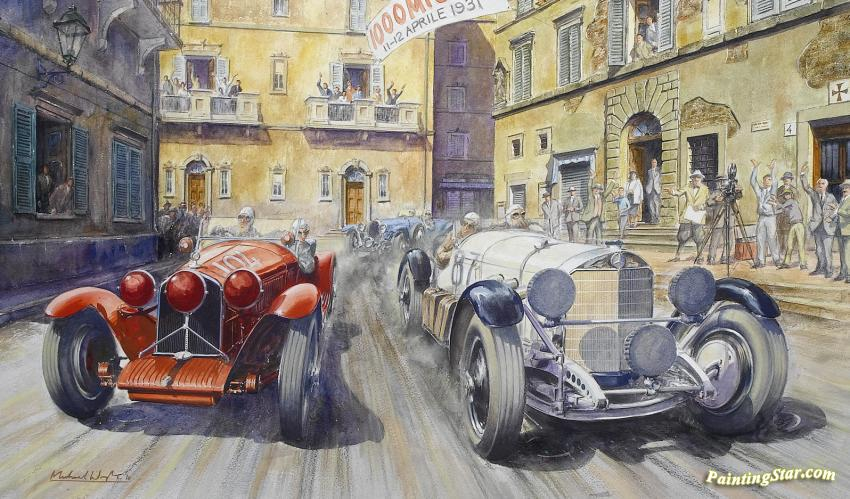Sell Car Online >> 1931 Mille Miglia Artwork by Michael Wright Oil Painting ...