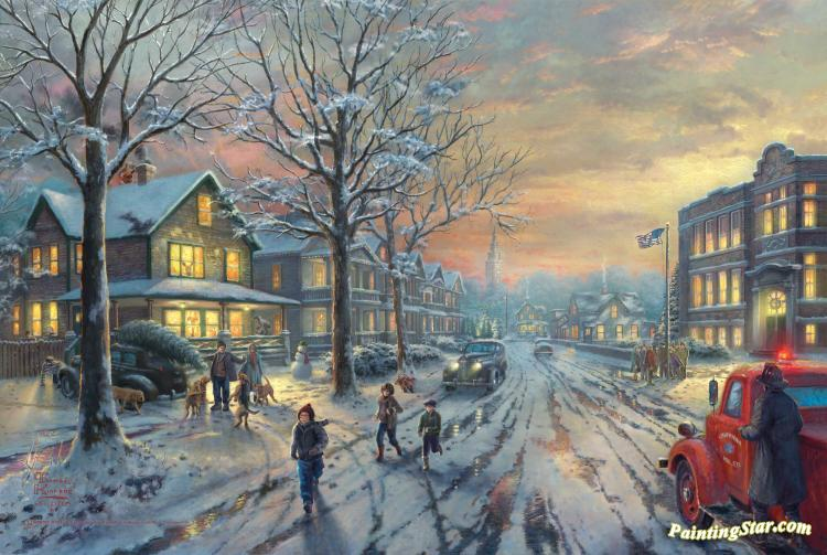 Thomas Kinkade Christmas.A Christmas Story Art Painting By Thomas Kinkade