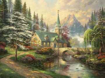 Dogwood Chapel Artwork by Thomas Kinkade