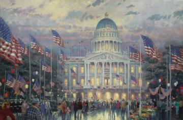 Flags Over The Capitol Artwork by Thomas Kinkade