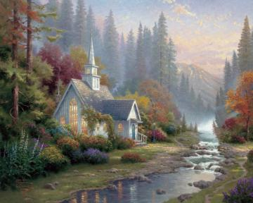 Forest Chapel Artwork by Thomas Kinkade