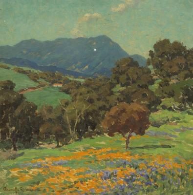 Rolling Hills With Poppies And Lupine Artwork by Granville Redmond