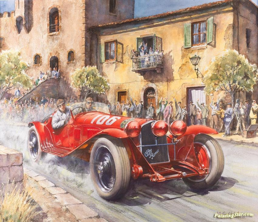 Wholesale Cars For Sale >> 1932 Mille Miglia Artwork By Michael Wright Oil Painting ...