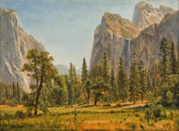 Bridal Veil Falls, Yosemite Valley, California Artwork by Albert Bierstadt