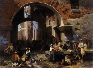 Roman Fish Market,arch Of Octavius Artwork by Albert Bierstadt