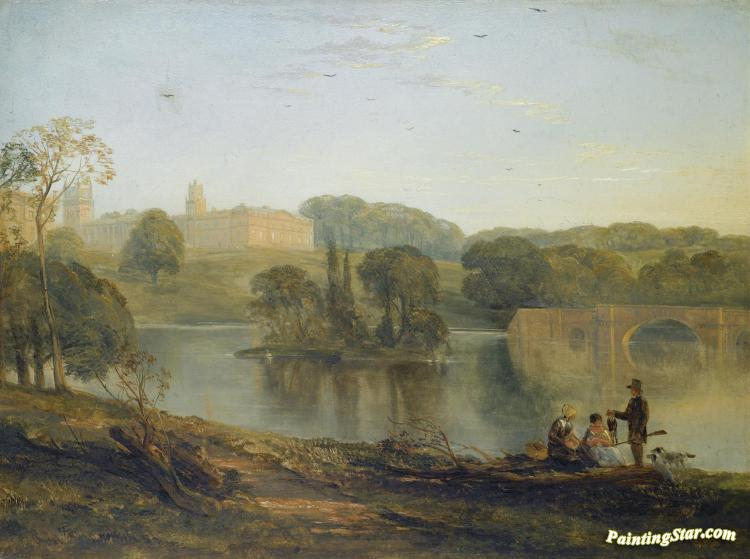 Blenheim Palace From The Lake Artwork By Thomas Creswick