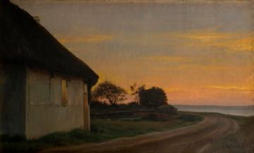 Evening Lanscape With A House And Garden By The Sea Artwork by Carl Heinrich Bloch
