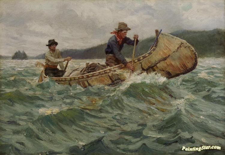 Trappers In A Canoe Artwork By Philip R Goodwin
