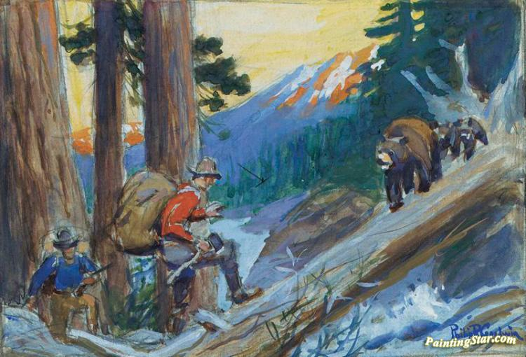 Bear Hunters Artwork By Philip R Goodwin
