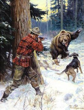 Bear Hunters Artwork By Philip R. Goodwin Oil Painting ...