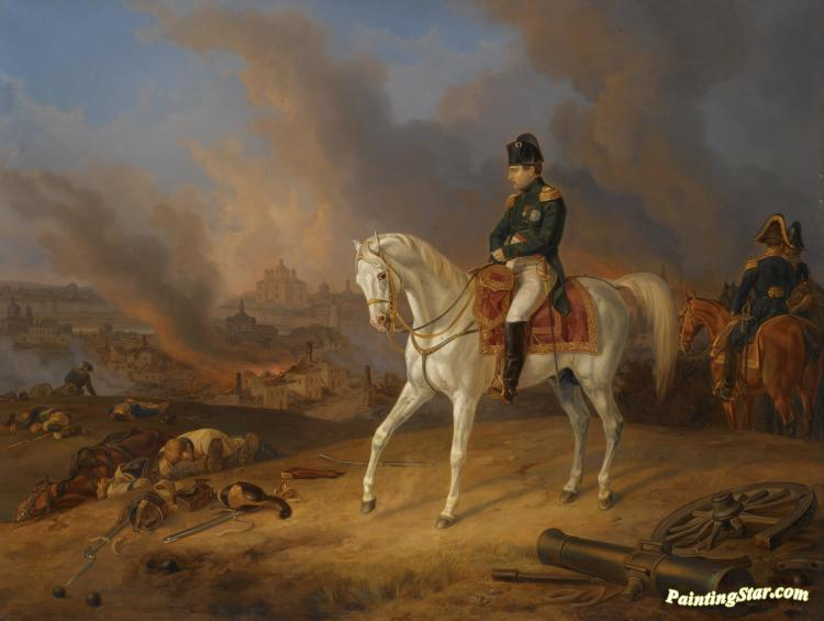 Napoleon Before The Burning City Of Smolensk Artwork By