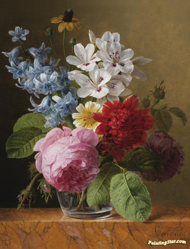 Flower Bouquet In A Glass Artwork By Jan Frans Van Dael Oil Painting ...
