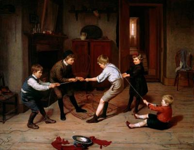 A Group Of Children Playing At 'tug Of War' In A Domestic Interior Artwork by Harry Brooker