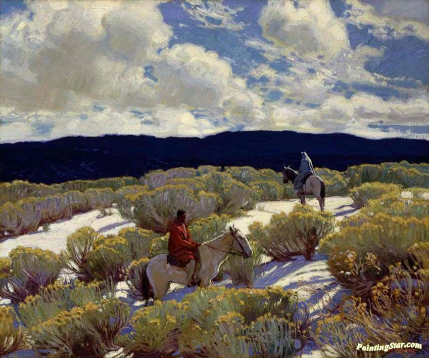 Through the Arroyo by E Martin Hennings  Giclee Canvas Print Repro