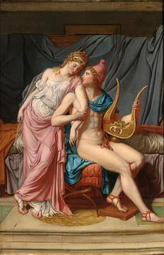 Paris And Helena Courting Artwork by Jacques Louis David