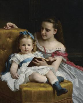 A Portrait Of Eva And Frances Johnston Artwork by William Adolphe Bouguereau
