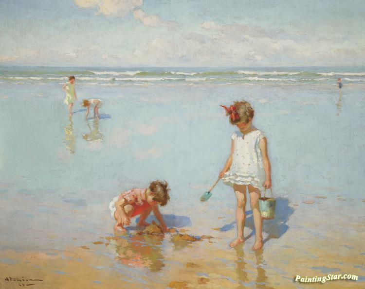 Children By The Sea Artwork By Charles Atamian Oil