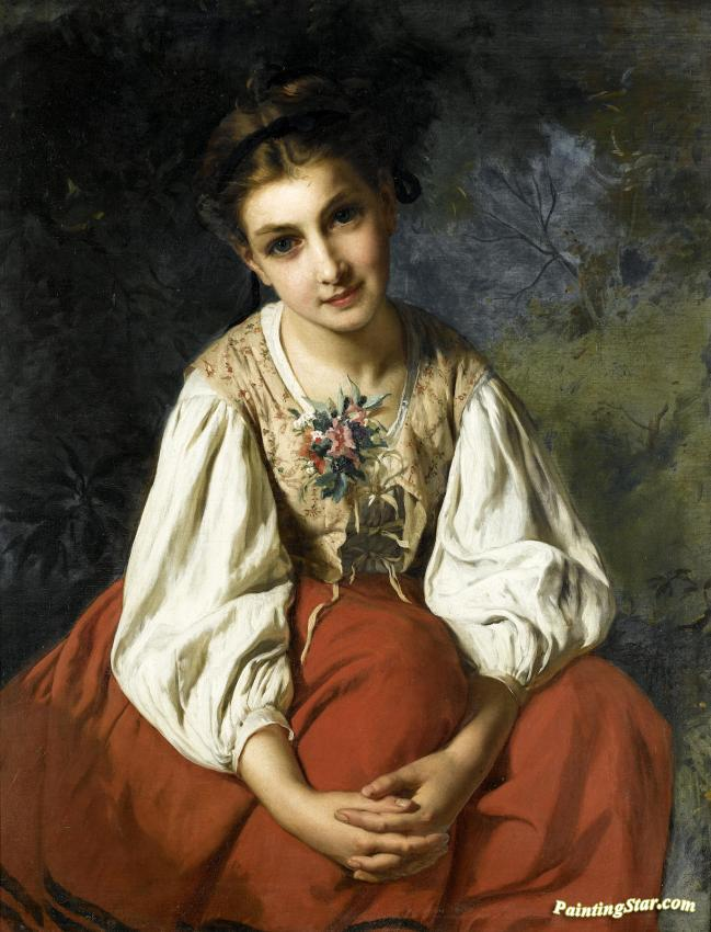 Portrait Of A Young Girl Artwork by Emile Munier