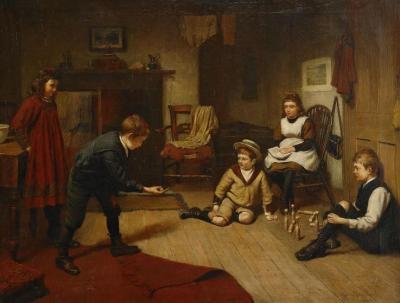 Children Playing In An Interior Artwork by Harry Brooker