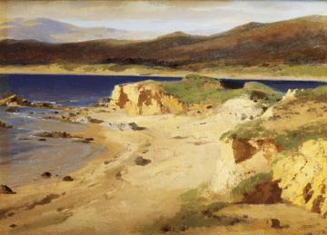 A Coastal View Near Cannes Artwork by Alexandre Calame