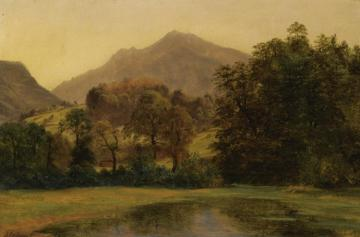 A Pond With A Mountainous Landscape In The Background Artwork by Alexandre Calame