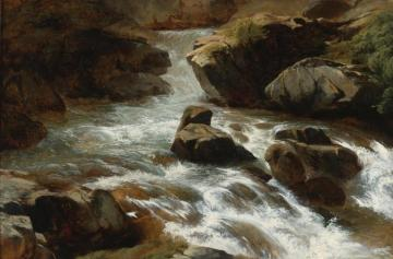 A Rocky Stream With Rapids Artwork by Alexandre Calame