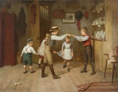 A Group Of Children Playing The Game 'oranges And Lemons' In A Domestic Interior Artwork by Harry Brooker