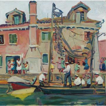 Venetian Canal Scene Artwork by Jane Peterson