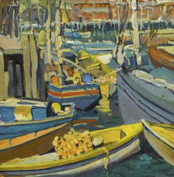 Boats At Harbor Artwork by Jane Peterson