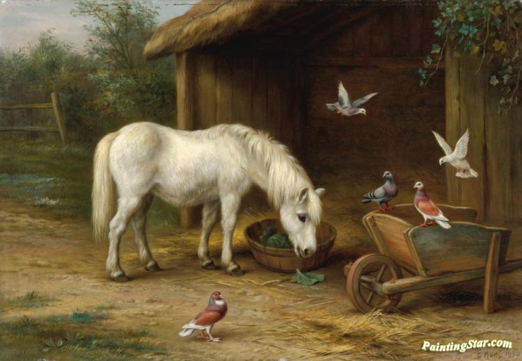 A Pony With Goats And Chickens In A Barn Artwork By Edgar