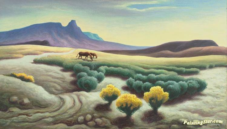 Two Horses Grazing In A Desert Landscape, Art Painting by Thomas Hart Benton